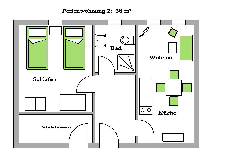 ferienwohnung teichrose f r 1 3 personen aufbettungen m glich haus altschulze. Black Bedroom Furniture Sets. Home Design Ideas
